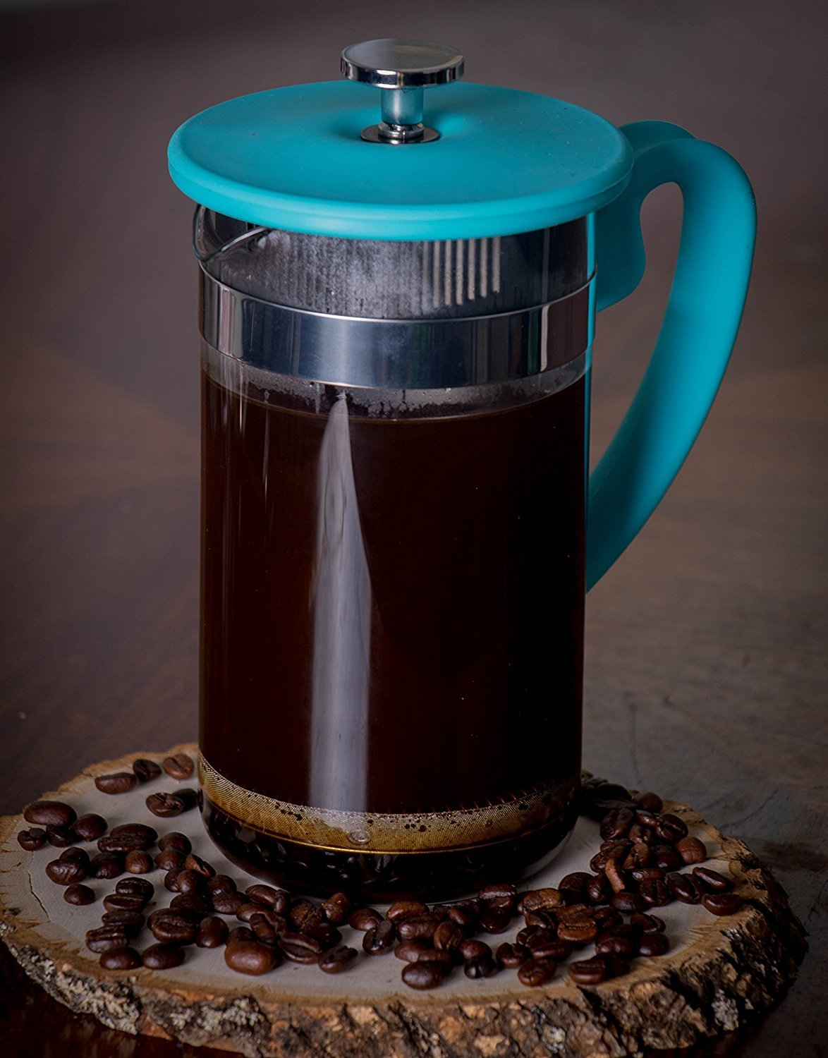 Gourmet 1 Liter Turquoise Glass and Silicone French Press Coffee ...