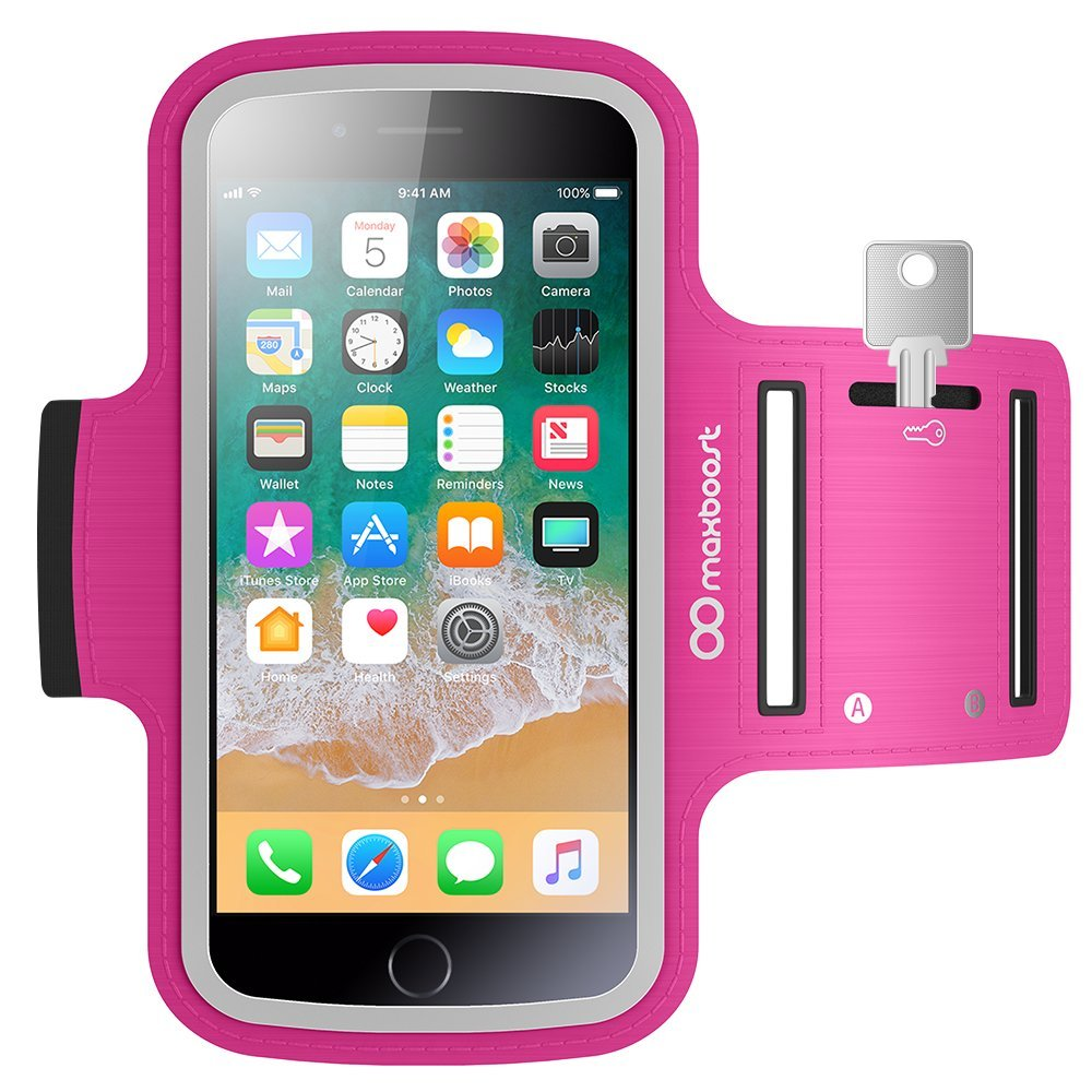 Maxboost Armband [Original+] Compatible with Large Phone & iPhone Xs Max, iPhone XR / 8 7 Plus, Galaxy S9+ S8+, Note 9 (Fits Otterbox & Lifeproof case) [Water Resistant] Universal Pouch Key Holder