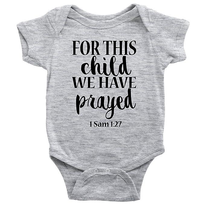 Amazon.com: Para este niño hemos oró Onesie Algodón de Bebé ...