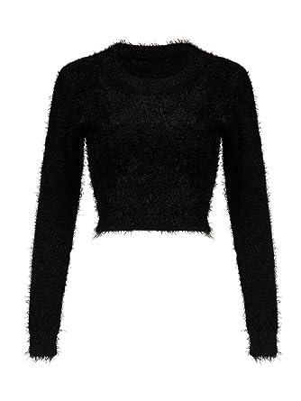 Joeoy Womens Fluffy Mohair Long Sleeve Knit Crop Top Sweater Jumper