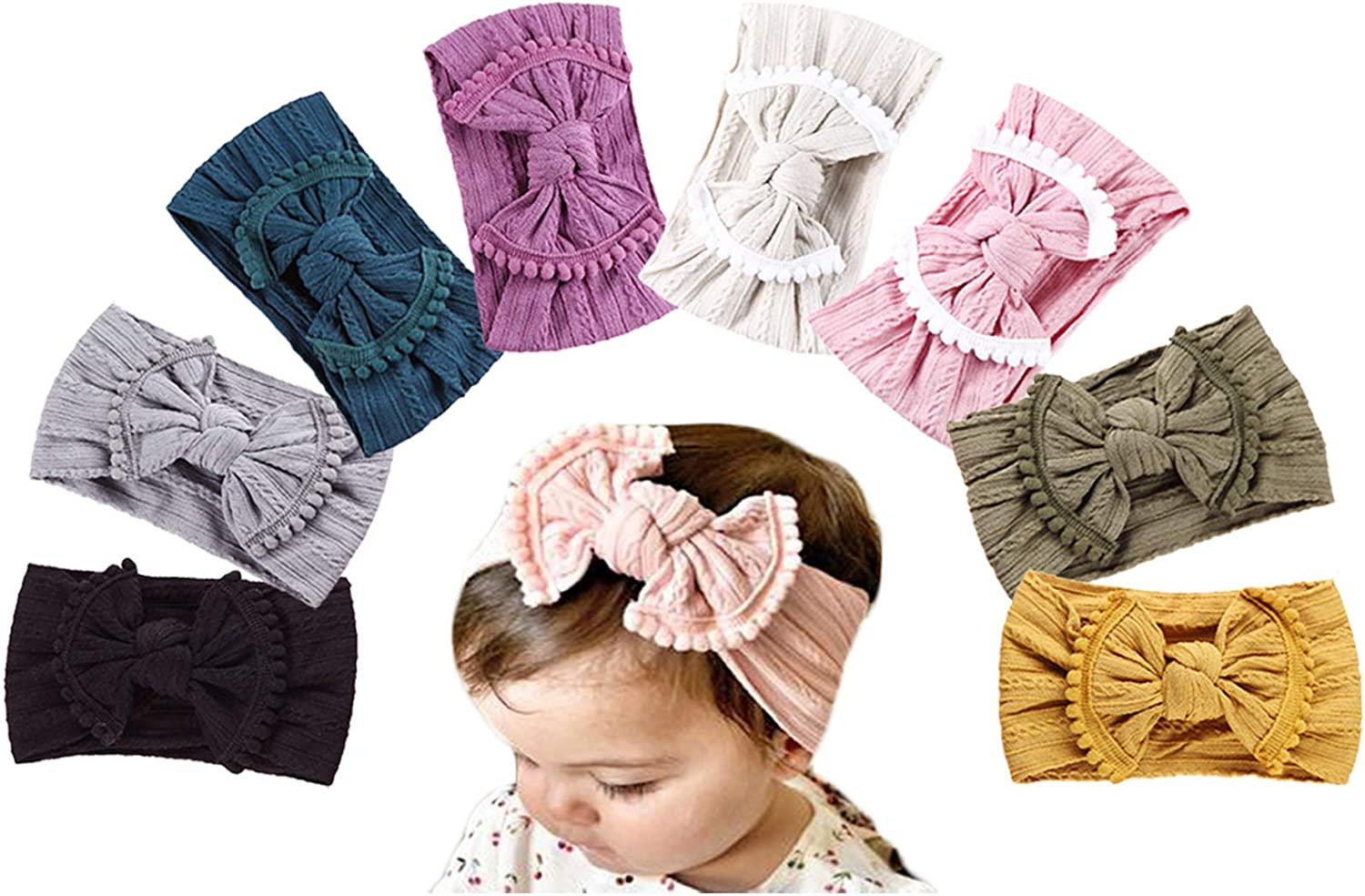 Baby Girl Nylon Headbands,Newborn Infant Toddler Headbands for Girls,Baby Bows and Headbands Child Hair Accessories