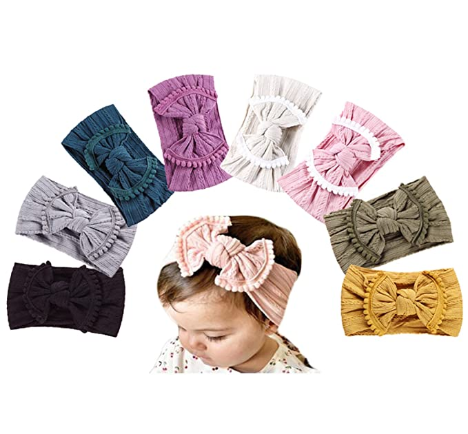 Infant Kids Baby Bow Soft Double Flower Hairband Nylon Headband Elastic Headwrap Hair Accessories Clothing, Shoes & Accessories