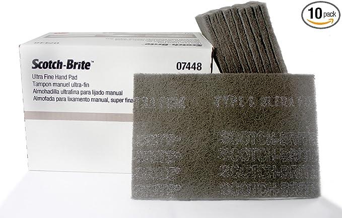 3M 07448 Scotch-Brite Ultra Fine Gray Abrasive Hand Pad 6 in x 9 in 20 Pads//...