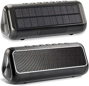 Friengood Solar Bluetooth Speaker 12W,IPX6 Waterproof Portable Wireless Speaker,50+ Hours Playtime Subwoofer,Bluetooth 4.2 Speaker Built-in 5000mAh Power Bank for Indoor & Outdoor Activities-Black