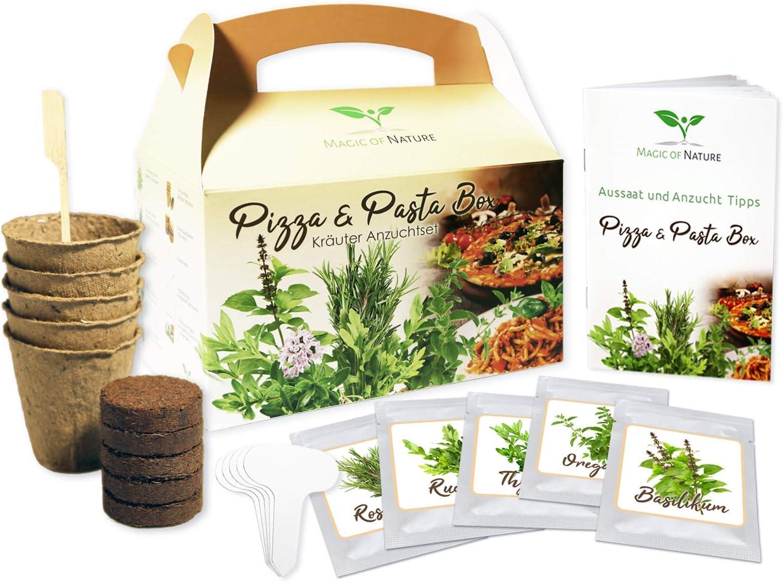 Pizza & Pasta Box - Hierbas Anzuchtset - para Selberzüchten o para Verschenken - una original Geschenkidee para prácticamente cualquier ocasión