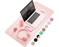 """Dual-Sided Multifunctional Desk Pad, Waterproof Desk Blotter Protector, Leather Desk Wrting Mat Mouse Pad (31.5"""" x 15.7"""", Pin"""