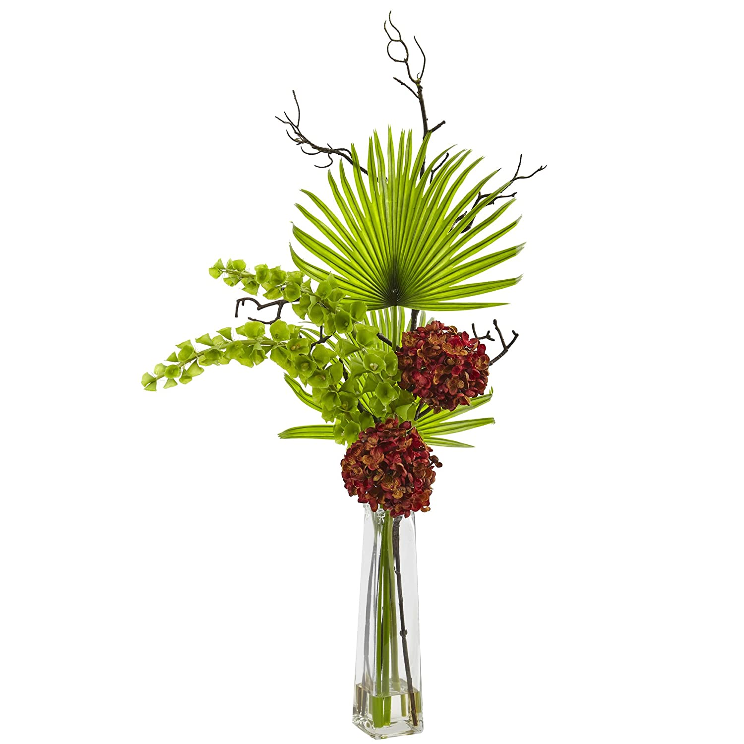 Nearly Natural 1435-RU Hydrangea Bells of Ireland and Palm Frond Arrangement in Glass Vase j