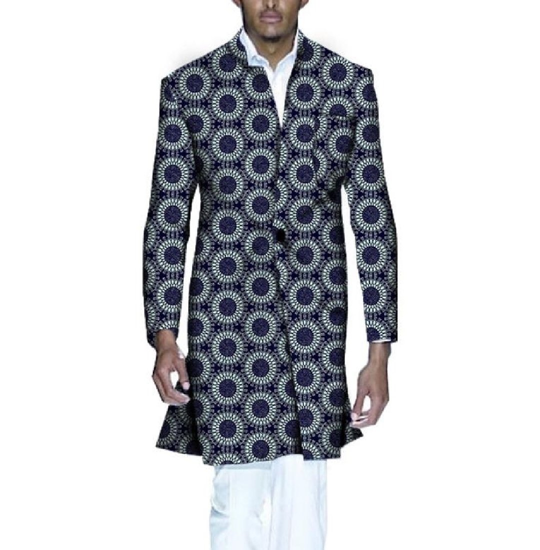 SportsX Men's Dashiki Jacket Coat Floral Jackets Africa Classic Trench Coat 5 XL
