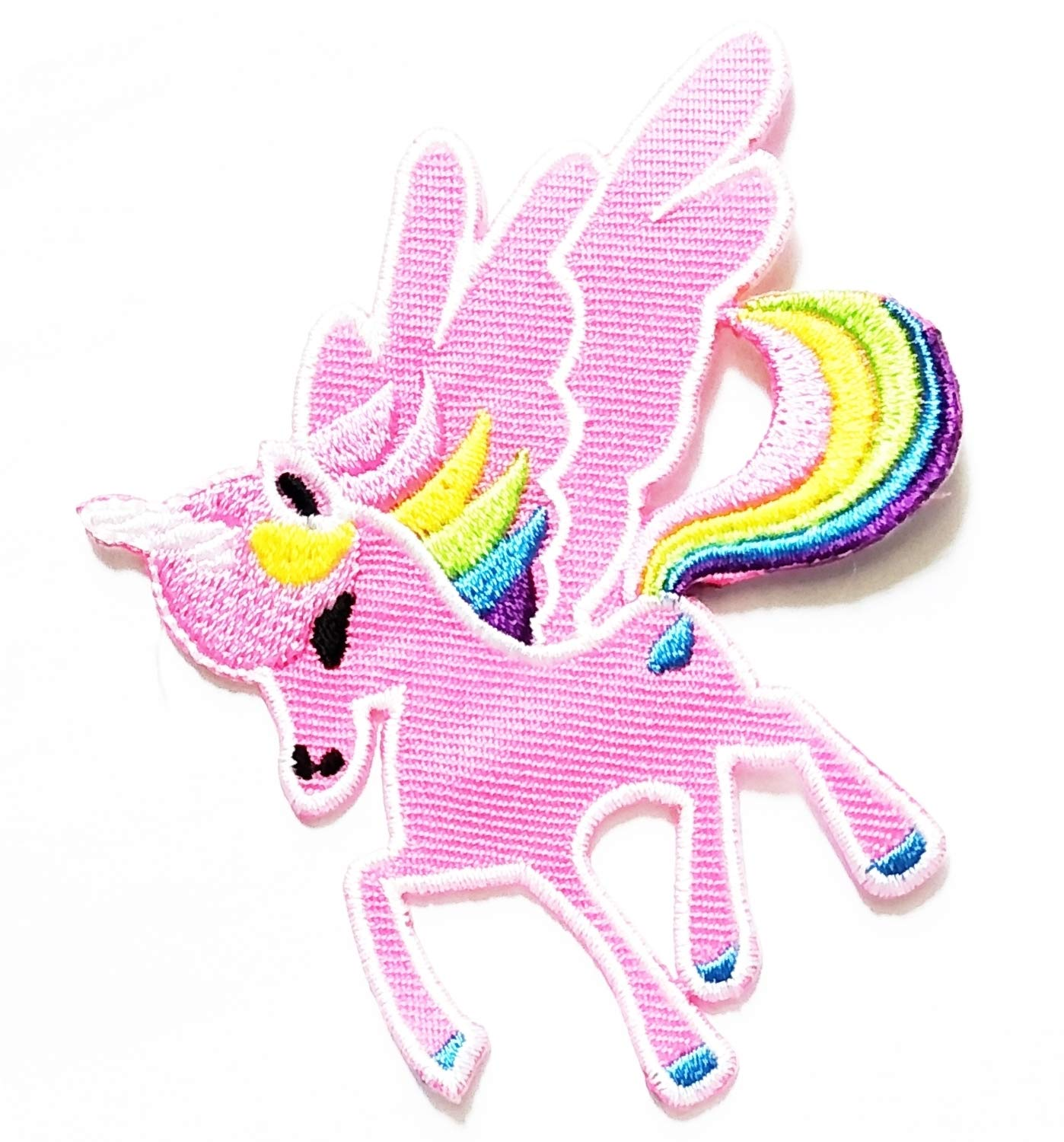3'' X 3.5'' Cute Horse Unicorn Pink with Flying Wings Cartoon Kids Logo Jacket t-Shirt Jeans Polo Patch Iron on Embroidered Logo Sign Badge Comics Cartoon Patch by Tour les jours Shop
