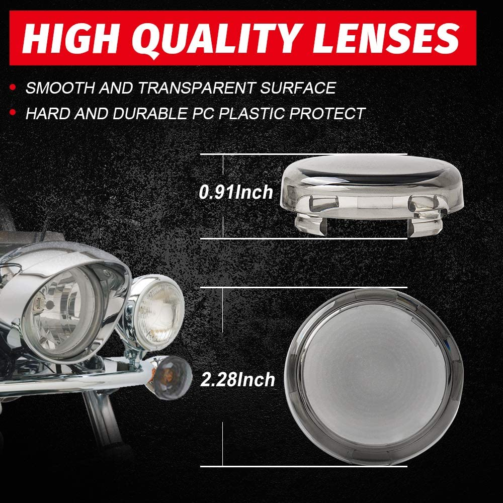 Qty 2 Red Tugwuetlwu Harley Turn Signal Light Lens Cover Compatible with Harley Davidson Sportster Street Glide Road King Softail Fatboy Road King Roadster Dyna