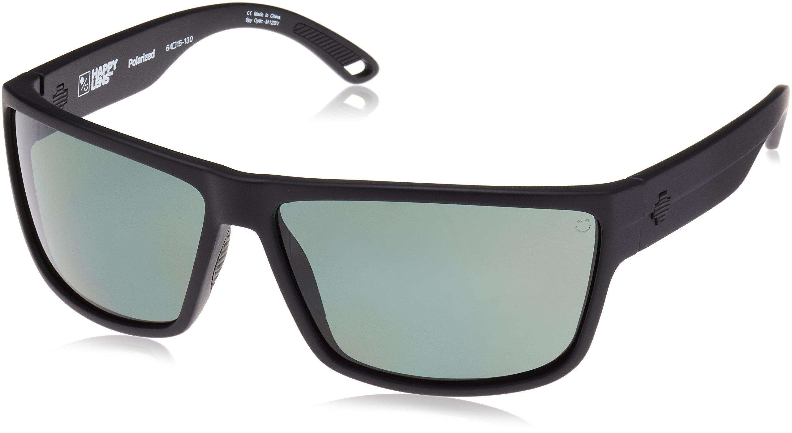 Spy Optic Rocky Flat Sunglasses, Matte Black/Happy Gray/Green Polar, 64 mm