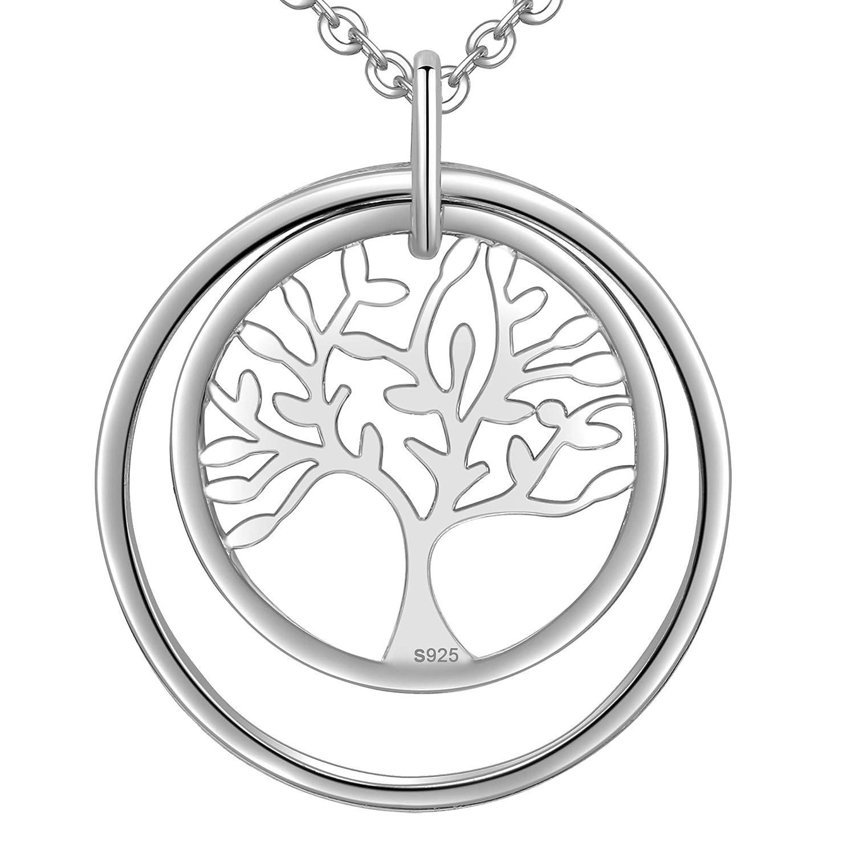 LOVORDS Collar Mujer Plata de Ley 925 Colgante /Árbol de la Vida Familiar C/írculo Regalo Madre Mam/á Novia o Esposa