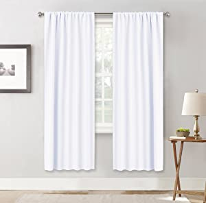 """RYB HOME Window Treatments Curtain Drapes - Thermal Insulated Curtains Set Rod Pocket Energy Saving for Bedroom/Kitchen/Living Room, 42"""" Wide x 72"""" Long, Pure White, 2 Panels"""