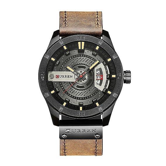 oumosi calendario Business Casual para hombre reloj elegante Sport Fashion FECHA correa de piel reloj de