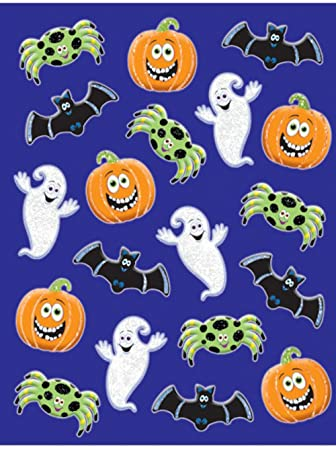 Cute Glittered Halloween Stickers - 3 sheets