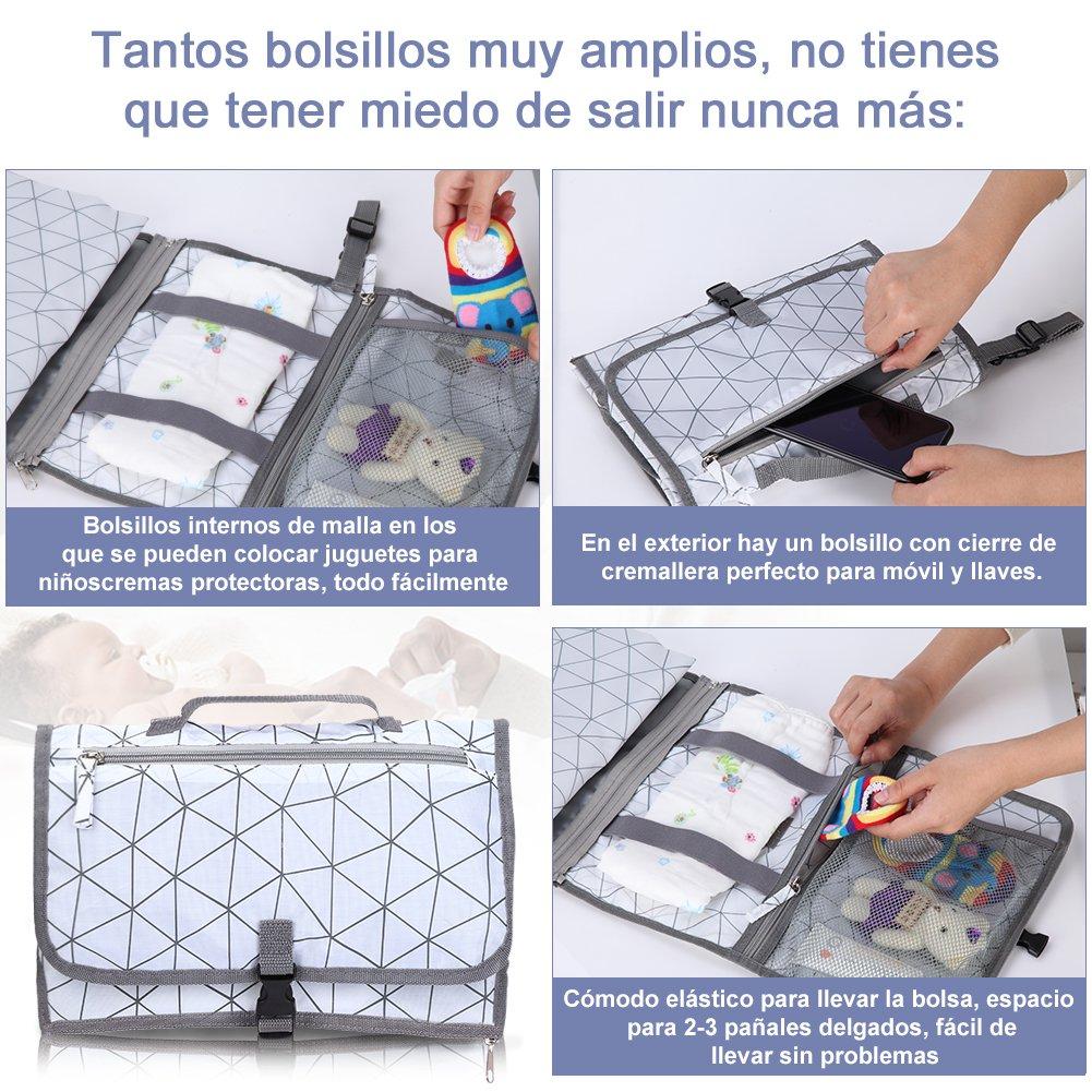 GHB Cambiador de Pañales para Bebé Bolso Cambiador Portátil bebe con Cojin Plegable y de Material Resistente al Agua