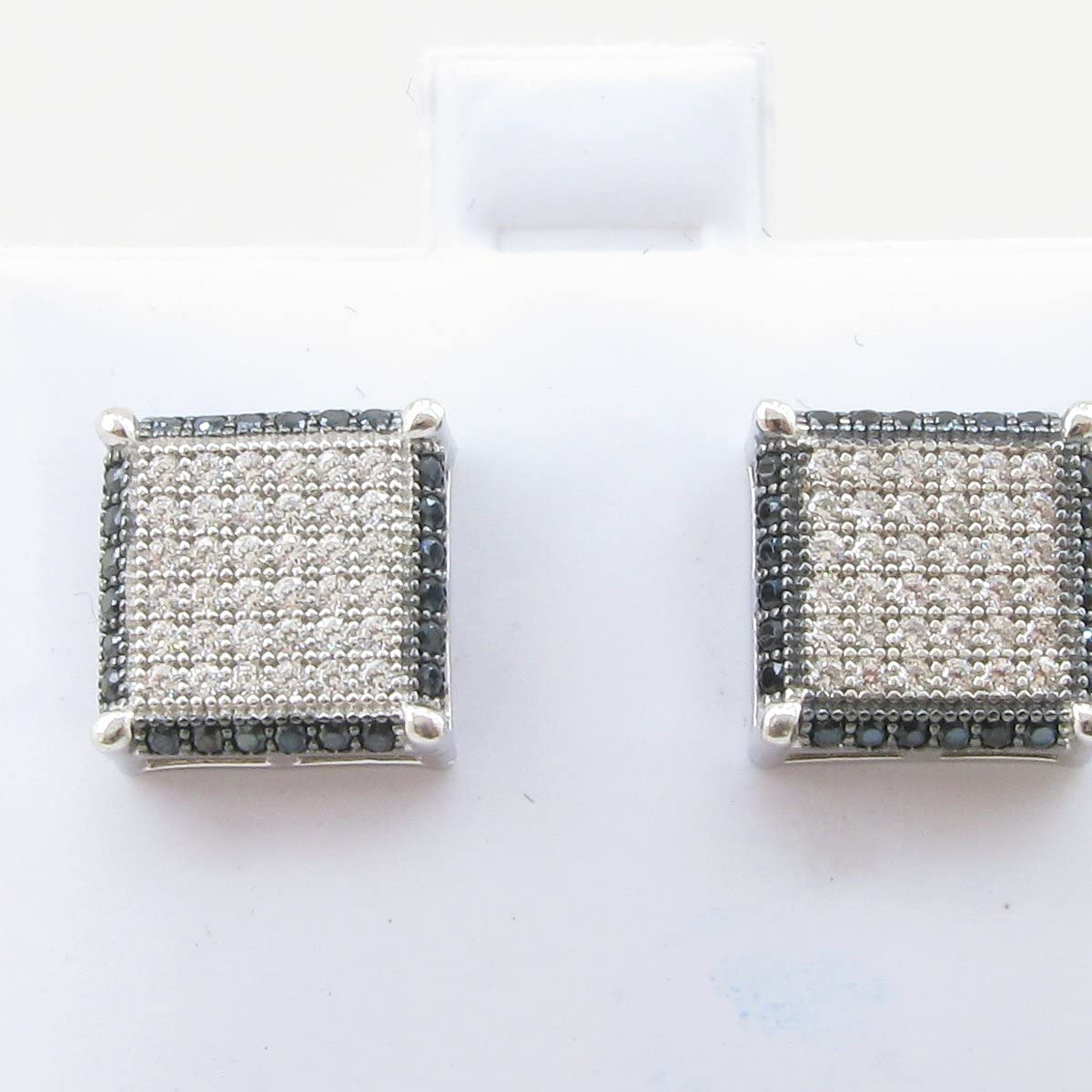 Mens .925 sterling silver Black and white 6 row square earring MLCZ120 4mm thick and 10mm wide Size