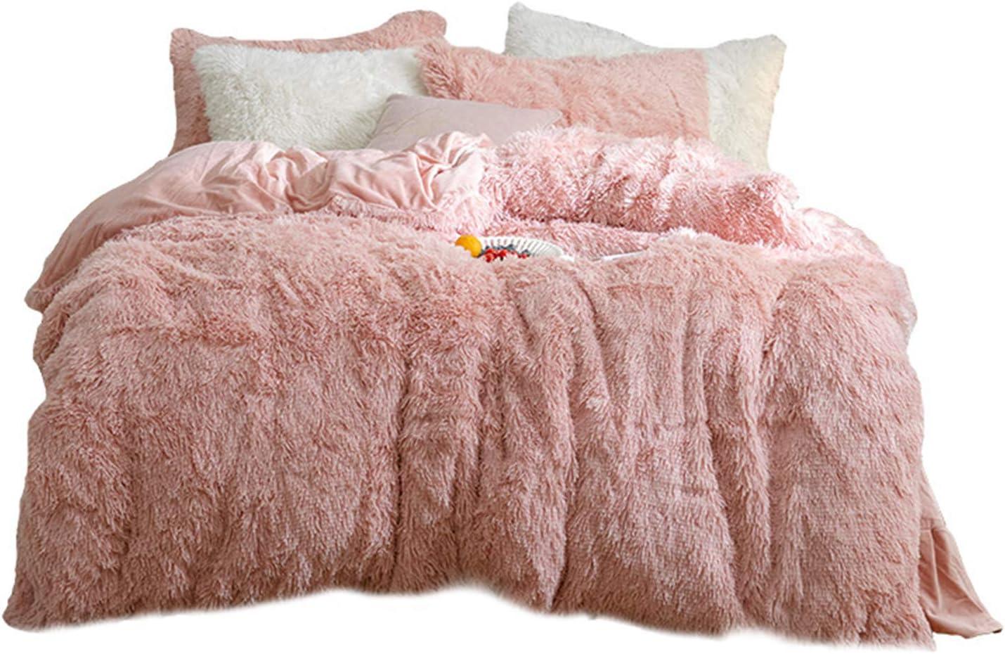 Lishiny Fluffy Blanket with Pillow Cover 3 Pcs Set, Faux Fur Velvet Fluffy Bedding Duvet Cover Set Warm and Durable for Bedroom