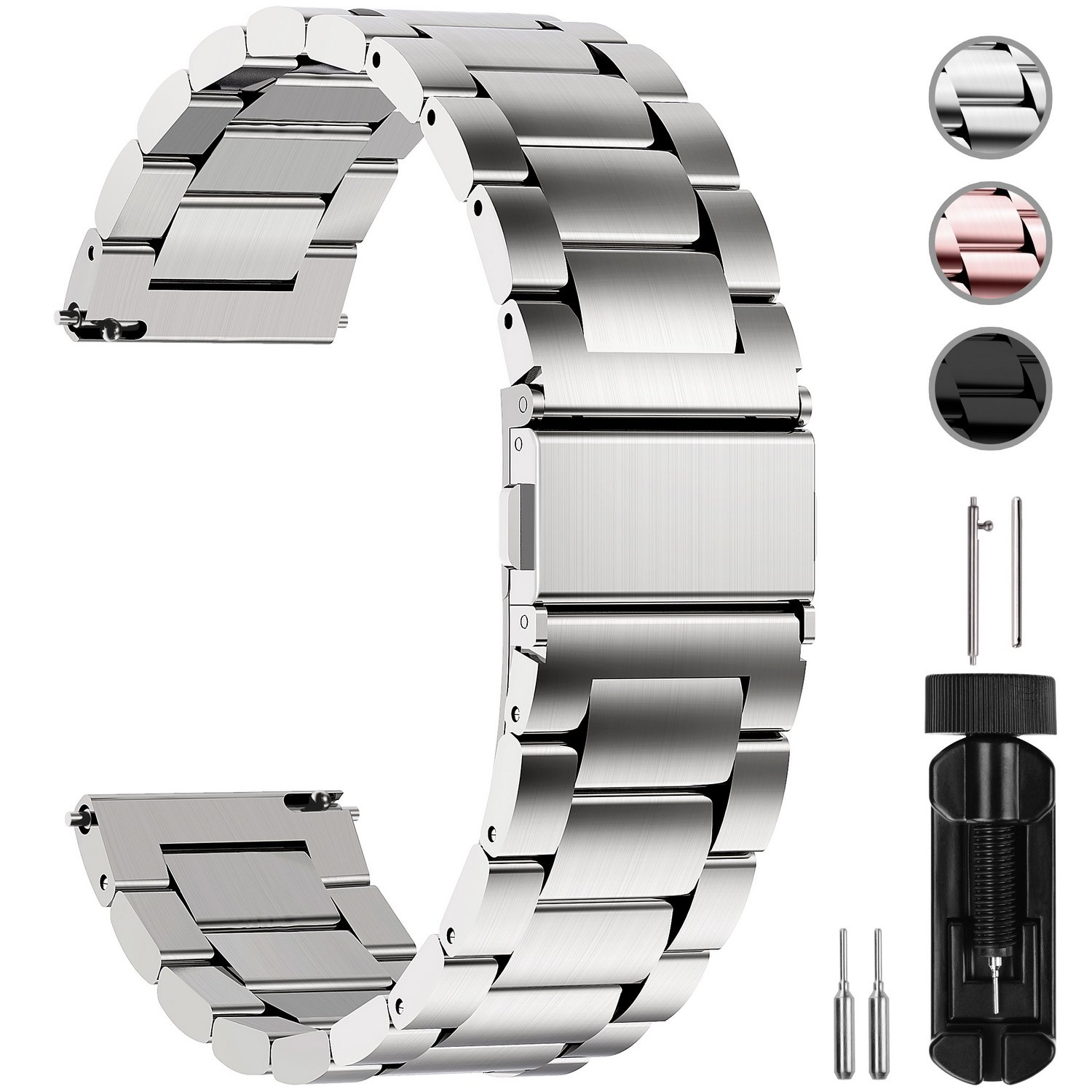 Fullmosa Watch Band, Stainless Steel Quick Release Watch Strap 16mm, 18mm, 20mm, 22mm or 24mm, 20mm Silver