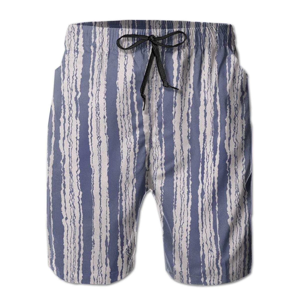 FUNSTYEET White and Blue Strieps Mens Board Shorts Swim Mesh Lining and Side Pocket