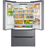 "Smad Counterdepth French Door Refrigerator Bottom Freezer 36"" Refrigerator Stainless Steel, 22.5 Cu.Ft, with Auto Ice Maker"