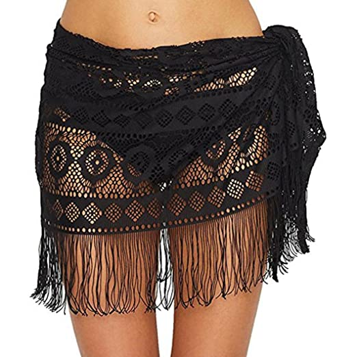 a743aa926e677 Elogoog Hot Sale 2018 Womens Swimwear Sarong Wrap Swimsuit Tassel Skirt  Bikini Summer Beach Cover up Dress (Black) at Amazon Women s Clothing store