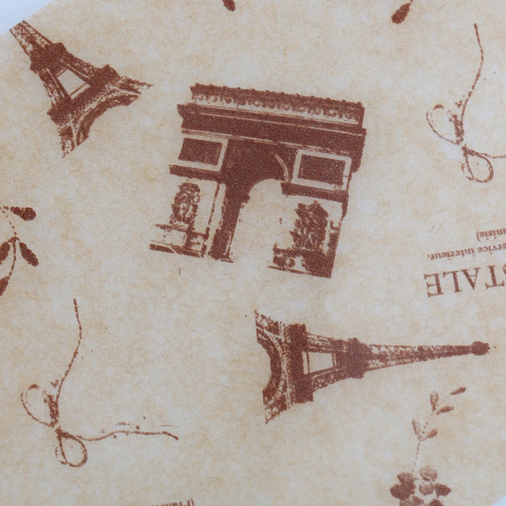 Fenteer 100 Unids Peri/ódico Torre Eiffel Patr/ón Impermeable Seco Papel De Cera Dulces Cafe Papel De Envolver Papel Tejido De Papel Para Hornear