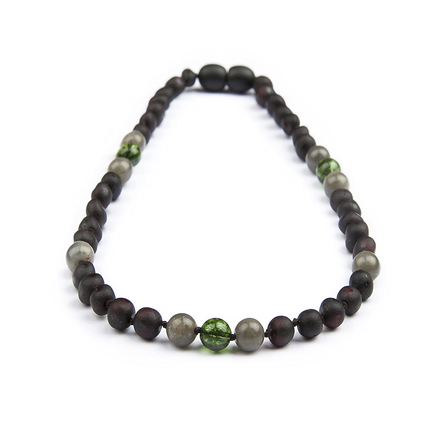The Art of Cure Original Baltic Amber Necklace- Polished Handmade 12-12.5 Inches size for boy or girl Triple black /& Yellow