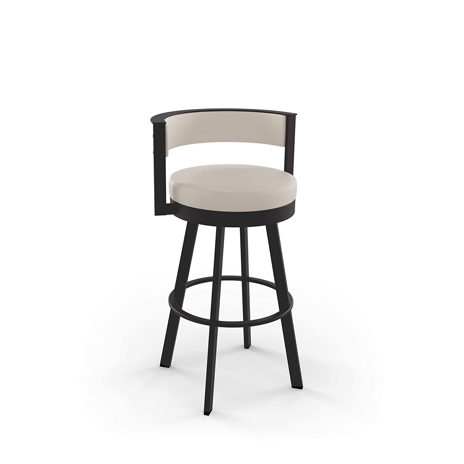 Amisco Browser Swivel Stool Brown Metal and Beige seat, Counter Height