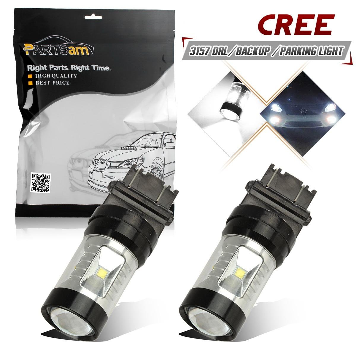 Partsam Car H8 H11 Blue 6-Cree-XB-D CREE LED DRL Fog Light Bulbs - 950 Lm per bulb - Plug-n-Play (Pack of 2)