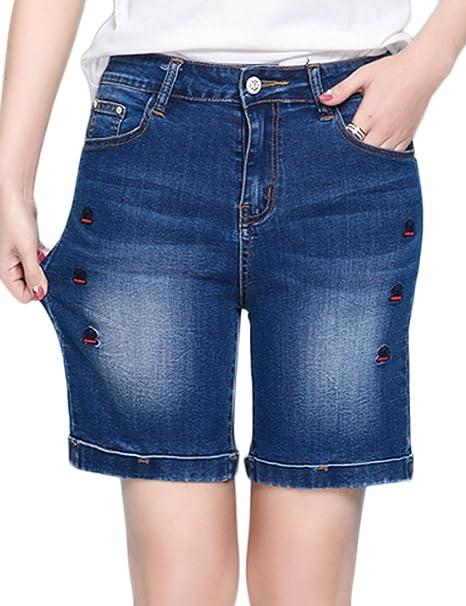 5feb92ac4e7 Innifer Women s Large Plus Size Comfort Stretch Denim Bermuda Shorts ...