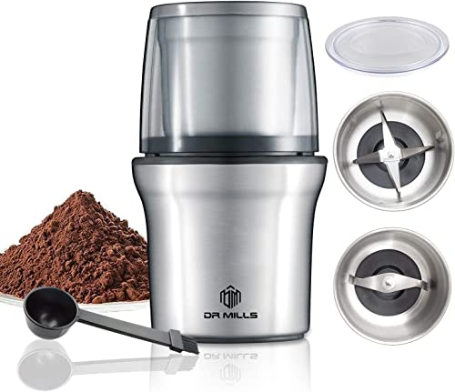 DR MILLS DM-7412M Electric Dried Spice and Coffee Grinder, Grinder and chopper,detachable cup, OK for clean it with water, Blade cup made with SUS304'stianlees'steel
