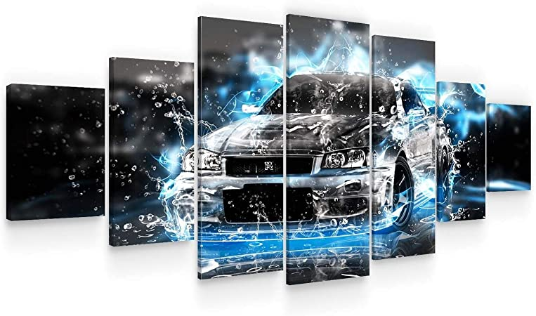 Amazon Com Startonight Huge Canvas Wall Art Abstract Classy Black Car Large Framed Set Of 7 40 X 95 Posters Prints