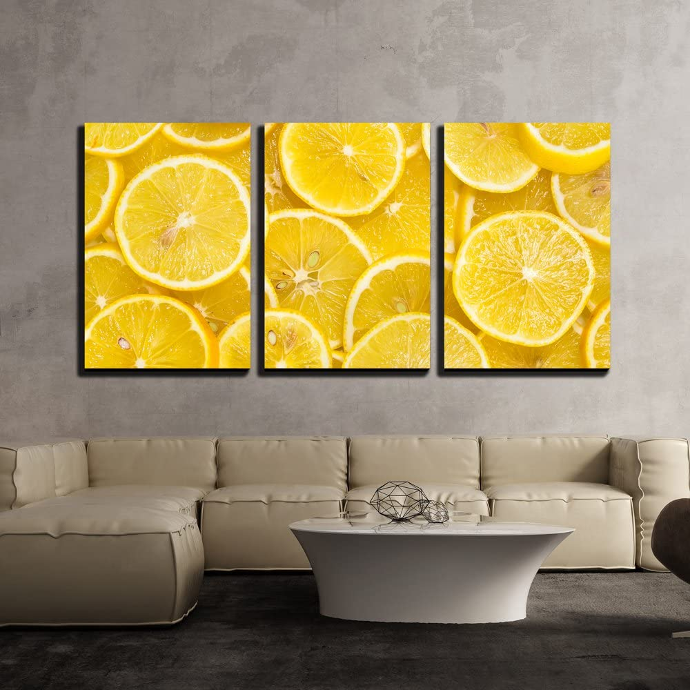 wall26 - 3 Piece Canvas Wall Art - Background of Sliced Ripe Lemons Organic, Pattern - Modern Home Art Stretched and Framed Ready to Hang - 16