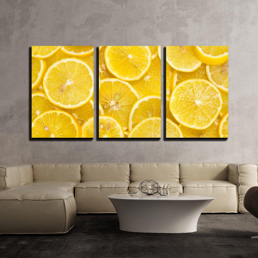 wall26 - 3 Piece Canvas Wall Art - Background of Sliced Ripe Lemons ...