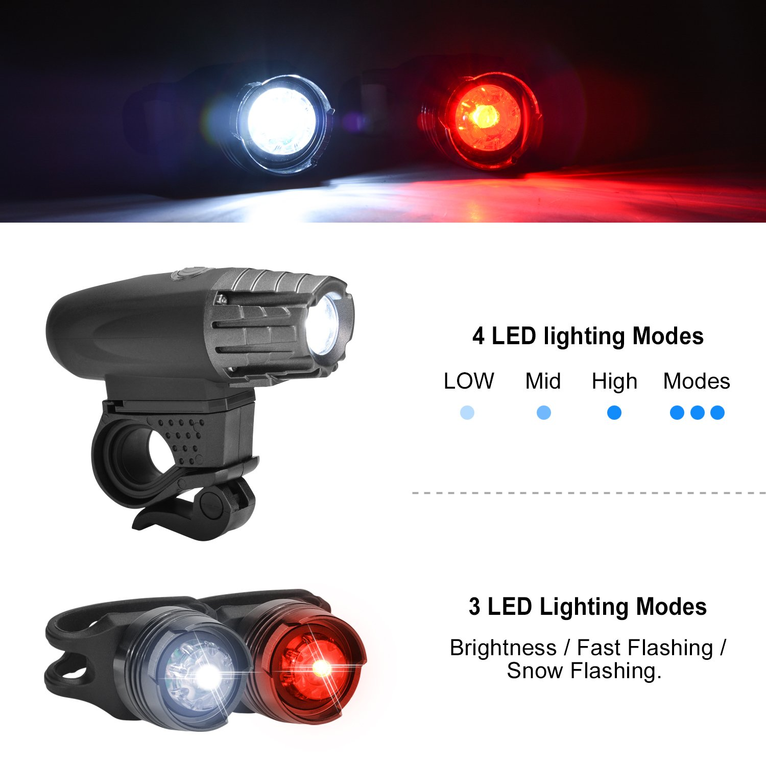 Ultra-Bright LED Bicycle Front and Tail Lights with 4+3 Lightening Modes Optional Waterproof and Easy to Install for Cycling Safety Flashlight Odoland USB Rechargeable Bike Light Set