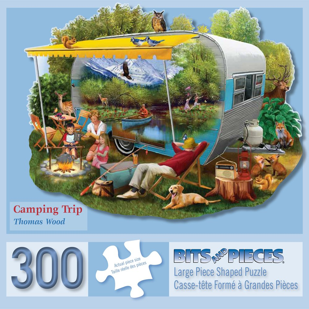 Bits and Pieces - 300 Piece Shaped Jigsaw Puzzle for Adults - Camping Trip - 300 pc Nature, Animals Jigsaw by Artist Thomas Wood