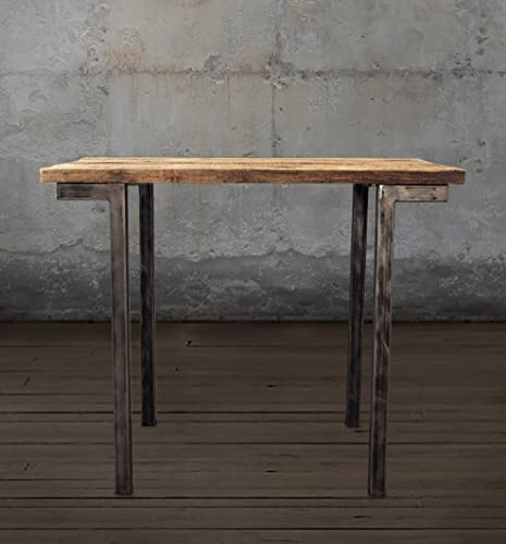 Reclaimed Wood Bar And Pub Table, Tall Cafe Table, Steel Legs