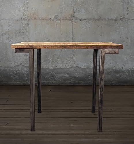 Beau Reclaimed Wood Bar And Pub Table, Tall Cafe Table, Steel Legs