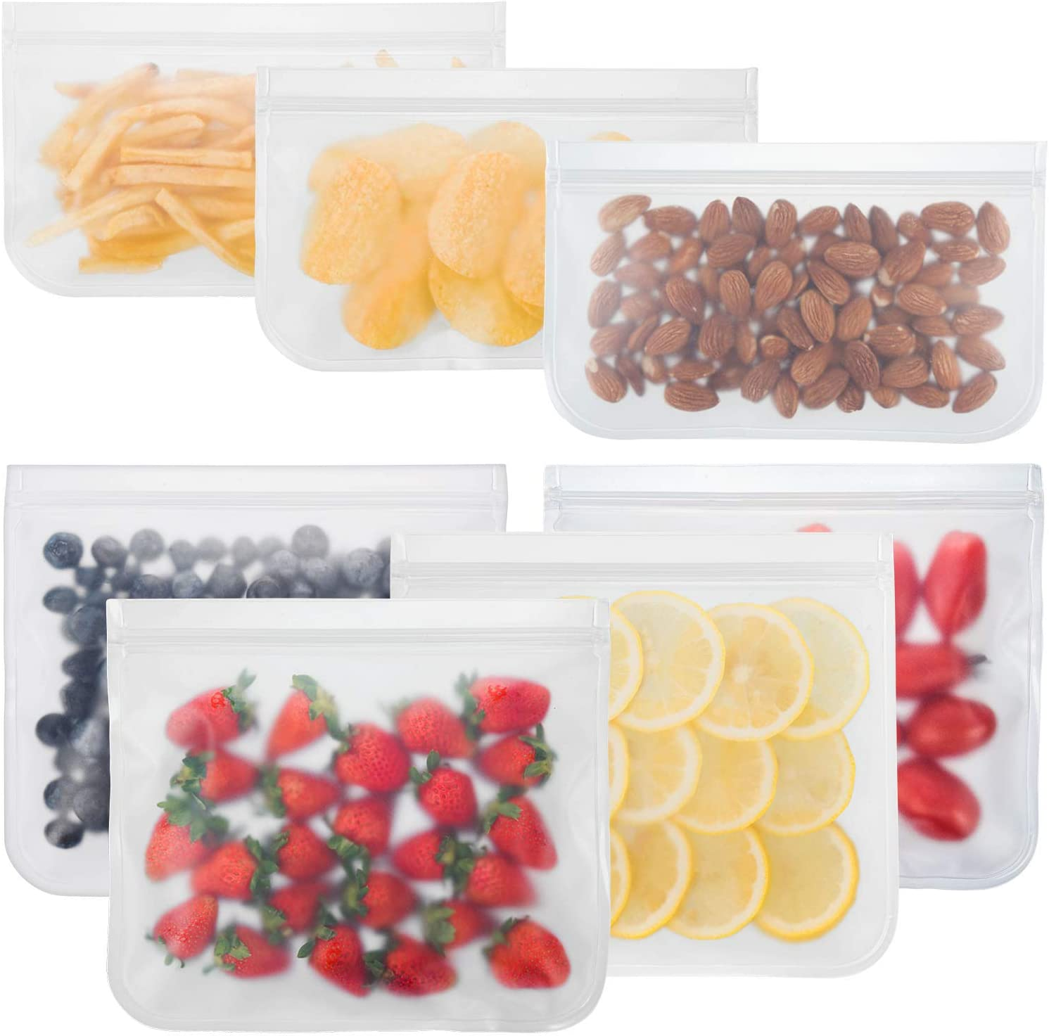 Bayco Reusable Storage Bags (7 Pack) Lunch Sandwich Bags & Small Kids Snack Bags For Food, EXTRA THICK Reusable Food Storage Bags, Reusable Freezer Bags, Reusable Ziplock Bags, BPA FREE