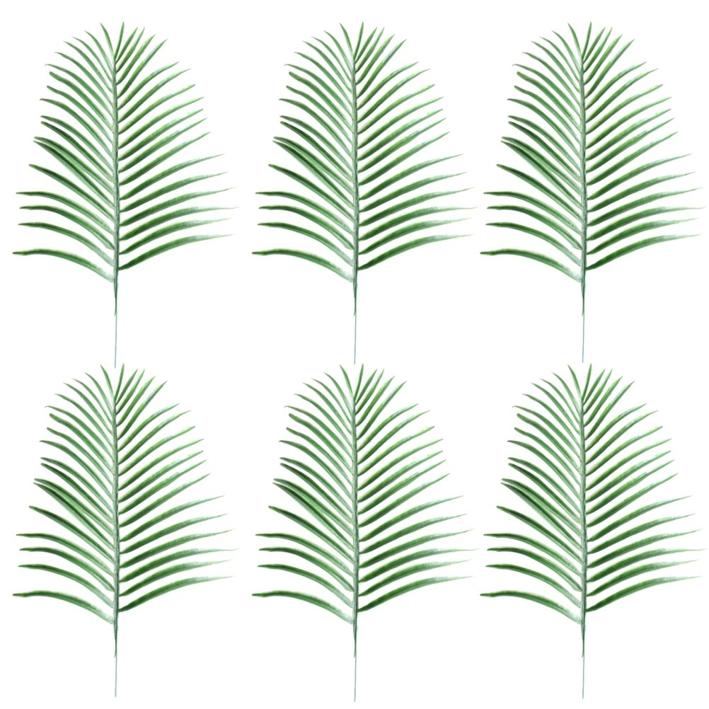 LUOEM 6 Pcs Fake Faux Artificial Tropical Palm Leaves for Home Kitchen Party Decorations Handcrafts (Green)