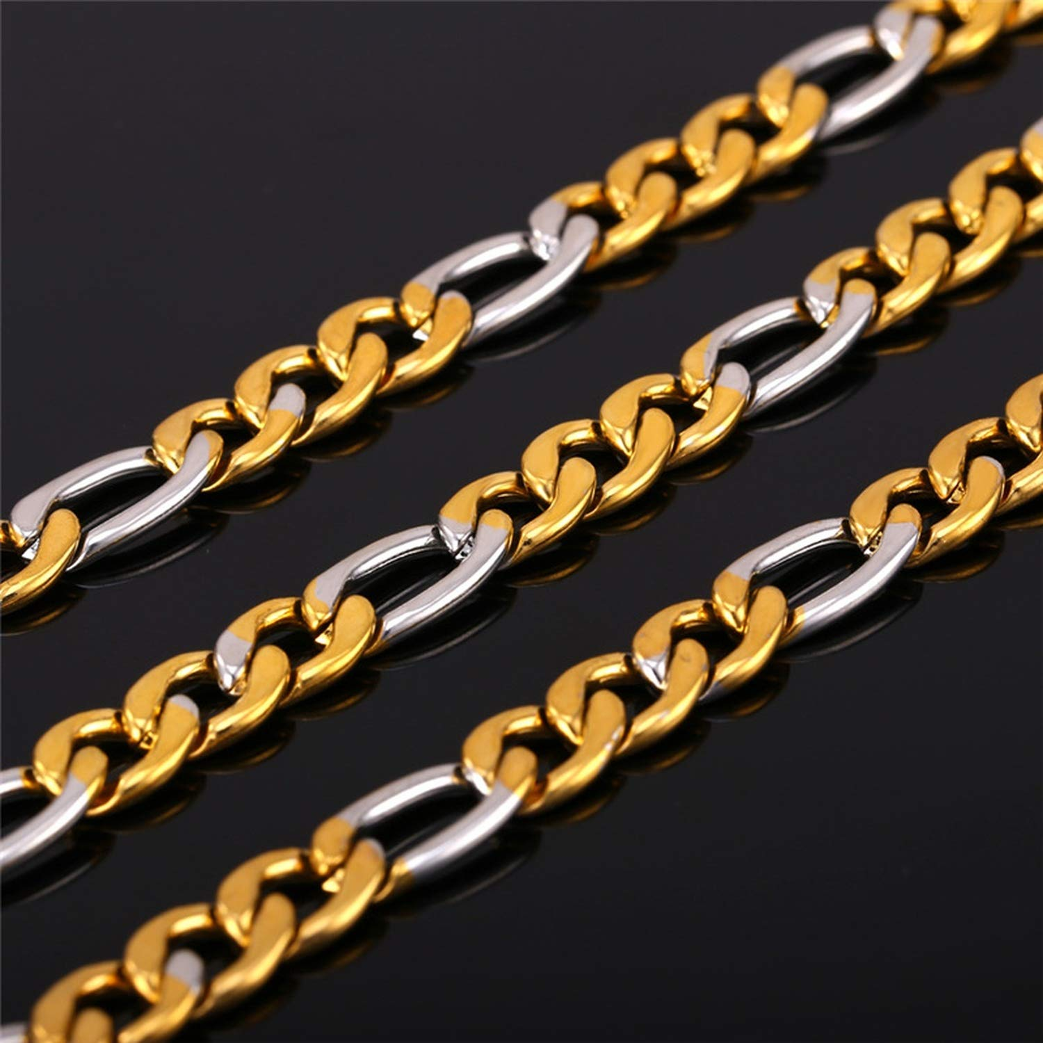 monicaexclusive Stainless Steel Necklace 46CM//55CM//66CM//71CM Two-Tone Gold Color Unique Design Hip Hop Figaro Chain Men