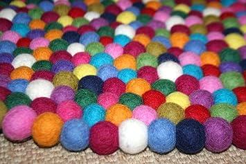 Design Colore Tapis Enfant En Petites Boules De Feutre Balle Tapis