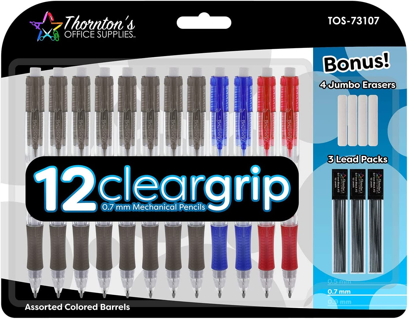 Thornton's Office Supplies ClearGrip Mechanical Pencil Starter Set 0.7mm Assorted Colors Pack of 12 Automatic Drafting Lead Pencil for Fine Drawing & Handwriting