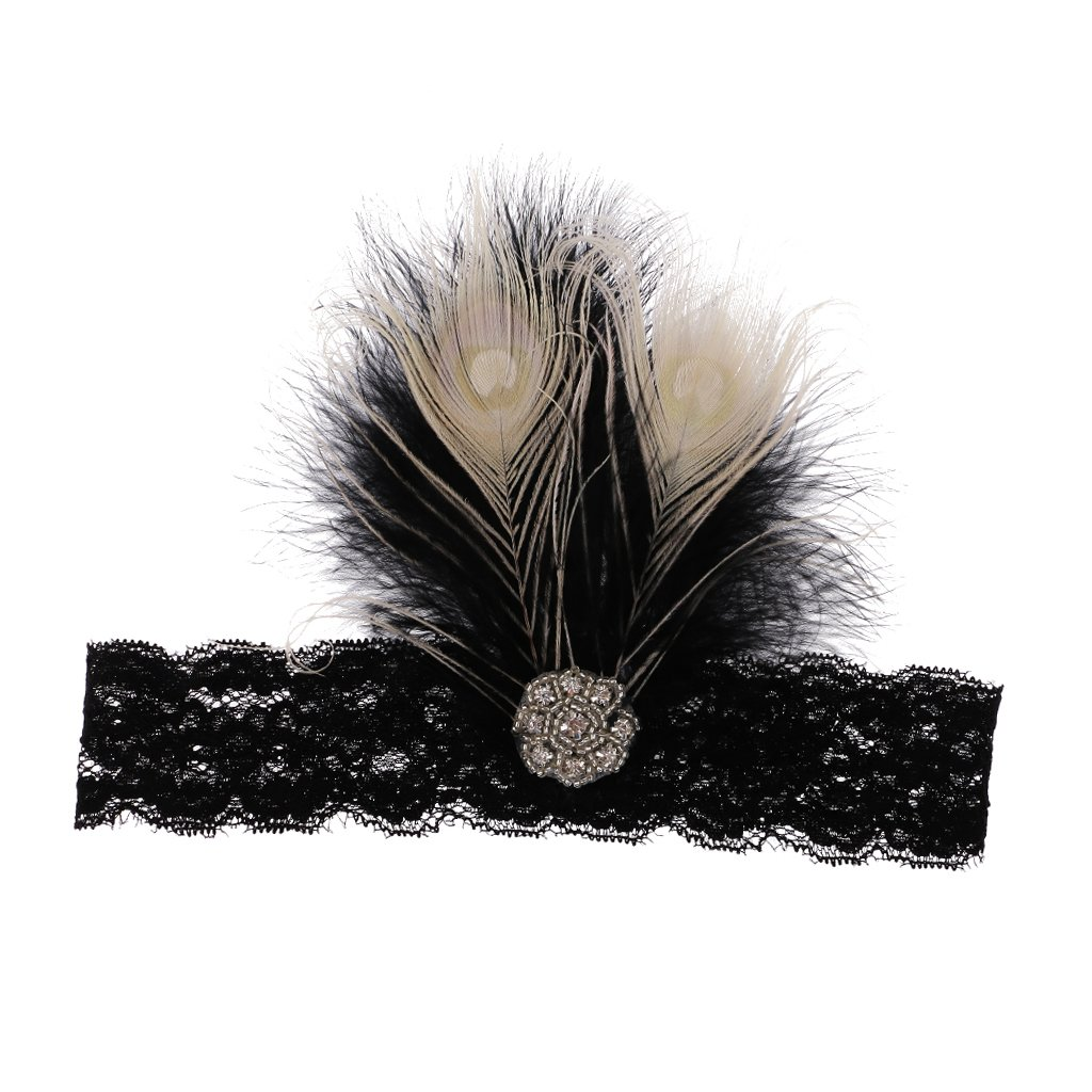 Black Lace Feather Flapper Headband Headpiece Fascinators 1920s Great Gatsby Fancy Headdress Generic STK0156012932