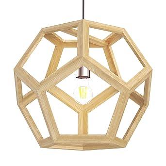 Tomons Lampe De Plafond Led En Bois Suspendue Creux Forme Ampoule A