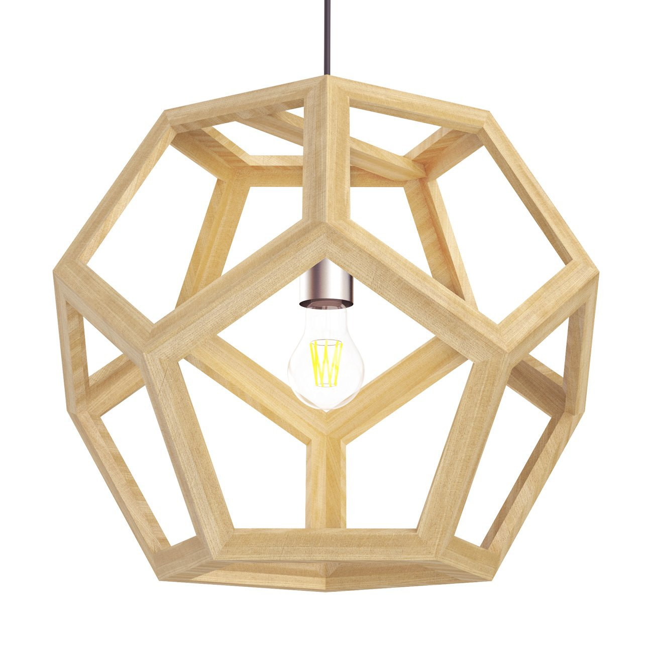 Tomons Hollow Design Wood Ceiling Pendant Lamp, Geometry Shape, E26/E27 Bulb Base, 60 Watts Incandescent Bulb, 12 Watts LED Bulb For Dining Room, Living Room, Bedroom, Study Room - PL1002 by tomons (Image #1)