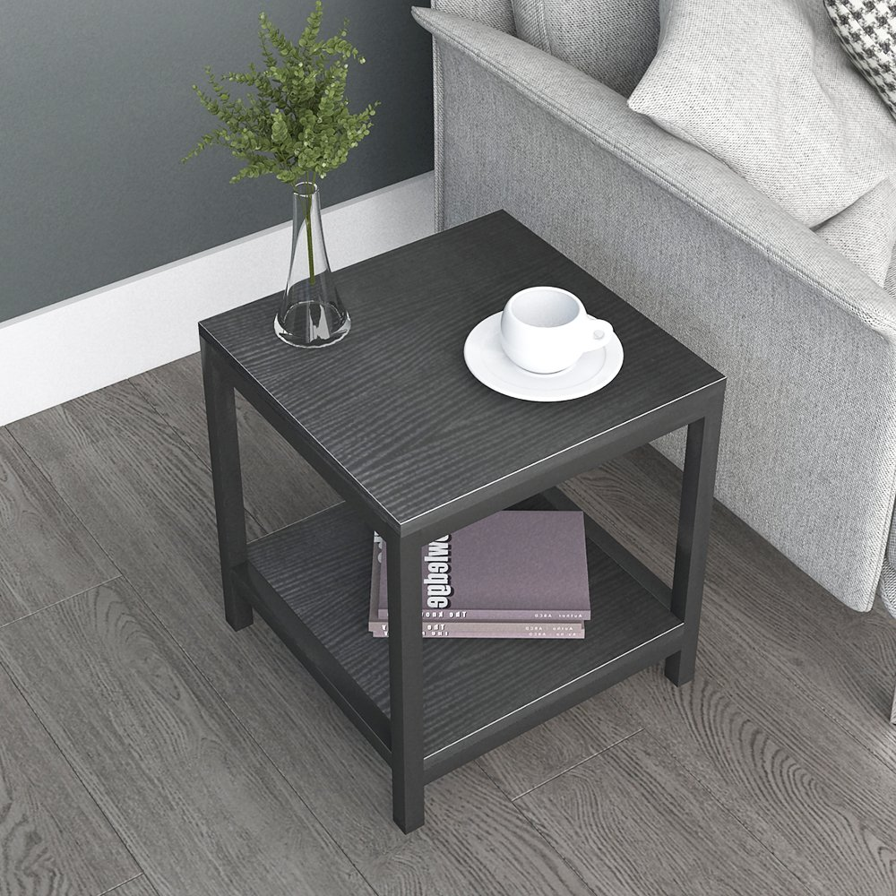 DlandHome Side End Table 15.7'', Composite Wood Board, Nightstand/Coffee Table/Couch Table For Living Room Balcony & Office, Square 2-tier Shelf, TVST2-BB Black, 1 Pack