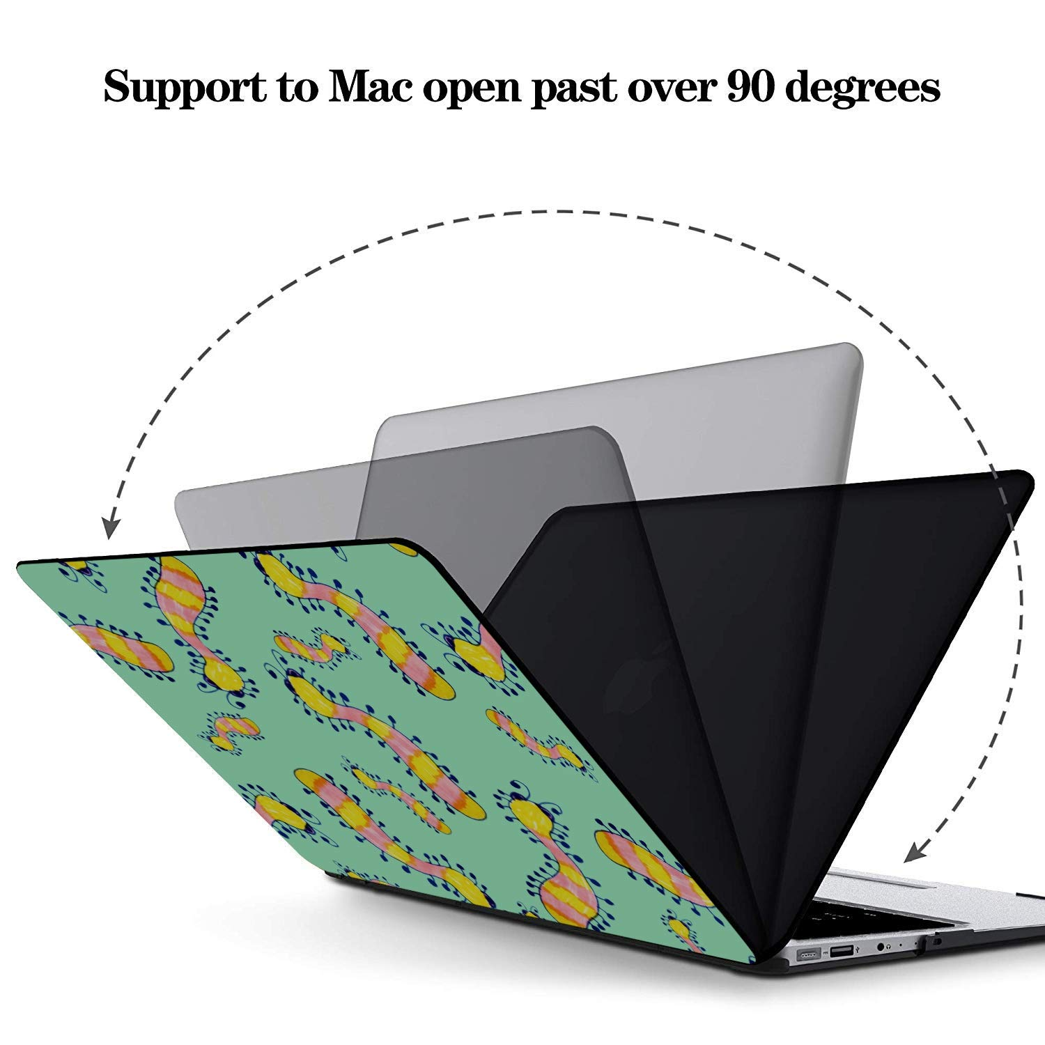 Case for MacBook Small Cute Cartoon Reptile Silkworm Plastic Hard Shell Compatible Mac Air 11 Pro 13 15 Mac 15 Inch Case Protection for MacBook 2016-2019 Version