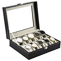 Styleys Wrist Watch Organizer case kit -10 Pcs Watch Box (10-Slot Black)
